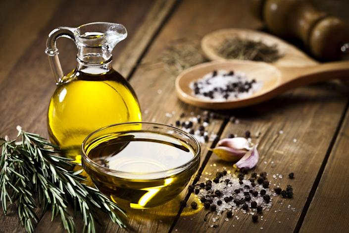 """<p>Olive oil may be high in calories, but it has many health benefits. Using polyphenol-rich olive oil has been linked to lowering blood pressure—especially among women. Make olive oil your go-to oil when cooking. </p><p><strong>Try it: </strong>Use olive oil in these super-simple <a href=""""https://www.prevention.com/food-nutrition/healthy-eating/g20464328/homemade-salad-dressing-recipes/"""" rel=""""nofollow noopener"""" target=""""_blank"""" data-ylk=""""slk:salad dressings"""" class=""""link rapid-noclick-resp"""">salad dressings</a> you can make at home.<br></p>"""