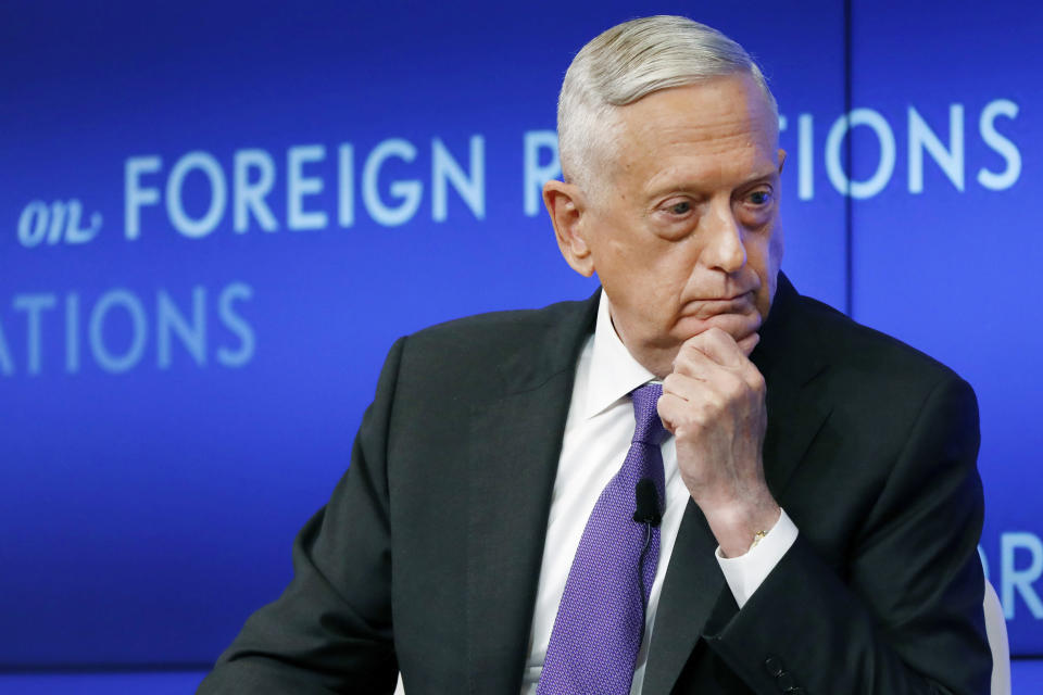 FILE - In this Sept. 3, 2019, file photo former U.S. Secretary of Defense Jim Mattis listens to a question during his appearance at the Council on Foreign Relations in New York. Mattis issued a statement Wednesday, June 3, 2020, on the recent protests around the United States. (AP Photo/Richard Drew, File)
