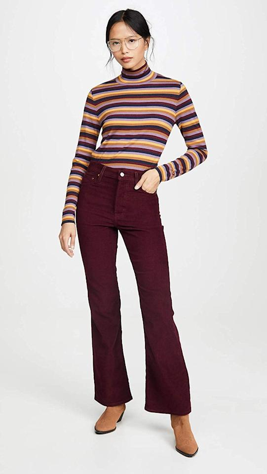 """<p>These <a href=""""https://www.popsugar.com/buy/Levi-Ribcage-Flare-Jeans-505830?p_name=Levi%27s%20Ribcage%20Flare%20Jeans&retailer=amazon.com&pid=505830&price=98&evar1=fab%3Aus&evar9=46799146&evar98=https%3A%2F%2Fwww.popsugar.com%2Ffashion%2Fphoto-gallery%2F46799146%2Fimage%2F46799157%2FLevi-Ribcage-Flare-Jeans&list1=shopping%2Camazon%2Cjeans%2Cpants&prop13=api&pdata=1"""" rel=""""nofollow"""" data-shoppable-link=""""1"""" target=""""_blank"""" class=""""ga-track"""" data-ga-category=""""Related"""" data-ga-label=""""https://www.amazon.com/Levis-Womens-Ribcage-Shiraz-Corduroy/dp/B07VVDF43Y?s=shopbop&amp;ref_=sb_ts"""" data-ga-action=""""In-Line Links"""">Levi's Ribcage Flare Jeans</a> ($98) bring the drama in the best way possible.</p>"""