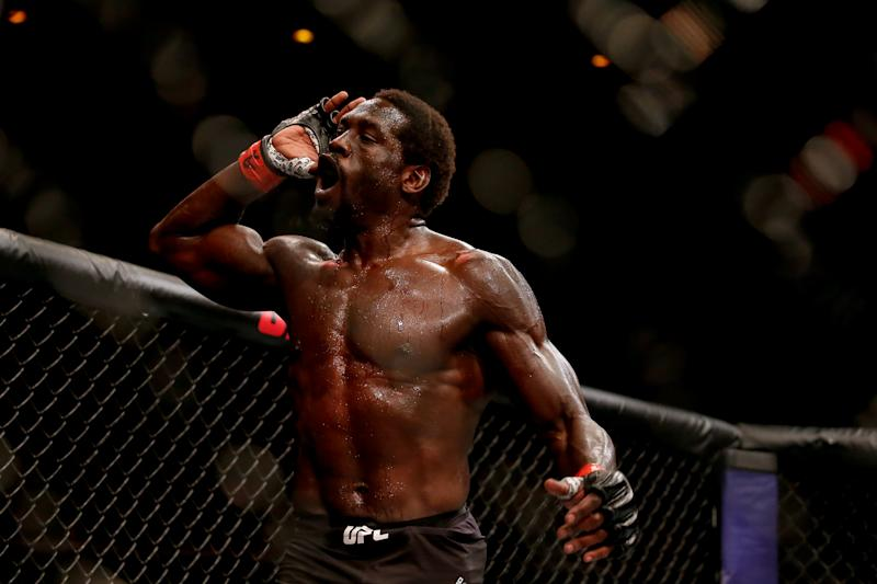 RIO DE JANEIRO, BRAZIL - MAY 11: Jared Cannonier of USA celebrates after his victory over Anderson Silva of Brazil in their middleweight bout during the UFC 237 event at Jeunesse Arena on May 11, 2019 in Rio de Janeiro, Brazil. (Photo by Alexandre Schneider/Getty Images)