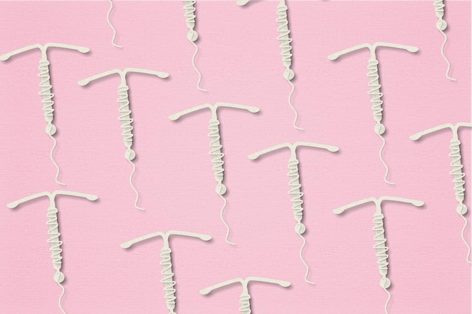 Concept hormonal contraception  on a pink background