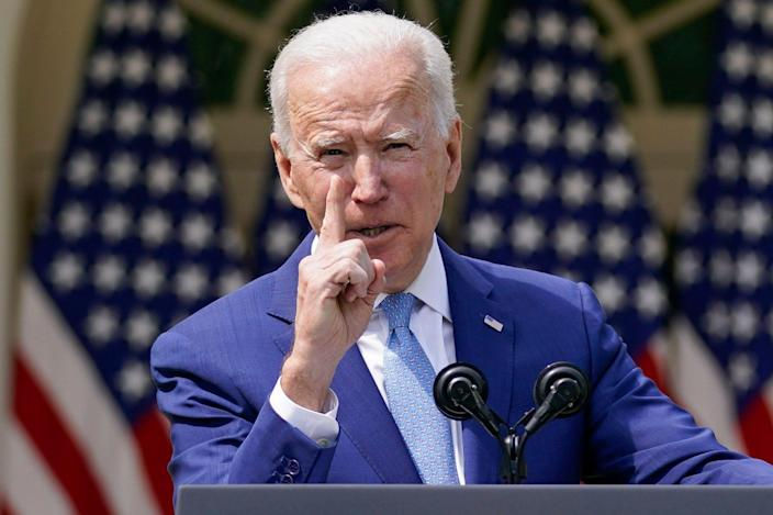 In this April 8, 2021, file photo, President Joe Biden gestures as he speaks about gun violence prevention in the Rose Garden at the White House in Washington. Biden will mark his 100th day in office on Thursday, April 29.