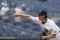 New York Yankees starting pitcher Gerrit Cole delivers during the first inning of a baseball game against the Tampa Bay Rays, Thursday, June 3, 2021, at Yankee Stadium in New York. (AP Photo/Kathy Willens)