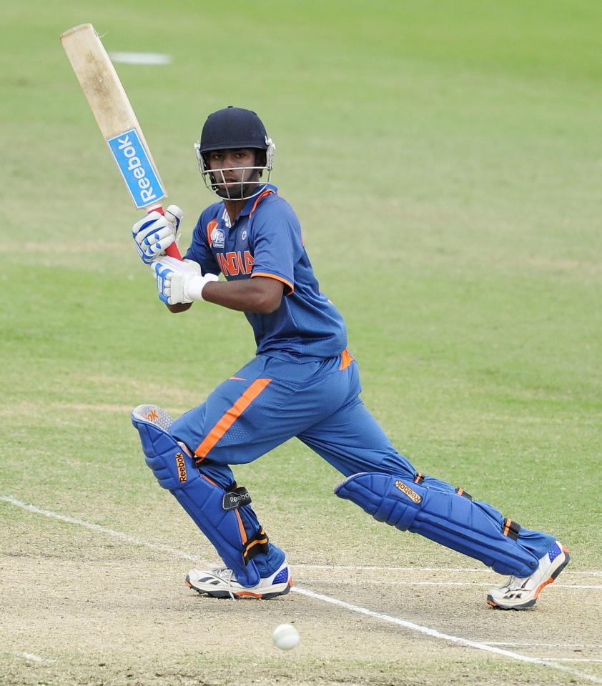 TOWNSVILLE, AUSTRALIA - AUGUST 20:  Baba Aparajith of India bats during the ICC U19 Cricket World Cup 2012 Quarter Final match between India and Pakistan at Tony Ireland Stadium on August 20, 2012 in Townsville, Australia.  (Photo by Ian Hitchcock-ICC/Getty Images)
