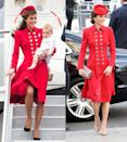 <p>The Duchess of Cambridge rewore a vivid red coat dress with gold buttons from Catherine Walker to the Commonwealth Day Service at Westminster Abbey on Monday, March 11, 2019 which she originally wore while arriving in New Zealand on an official trip in 2014. </p>