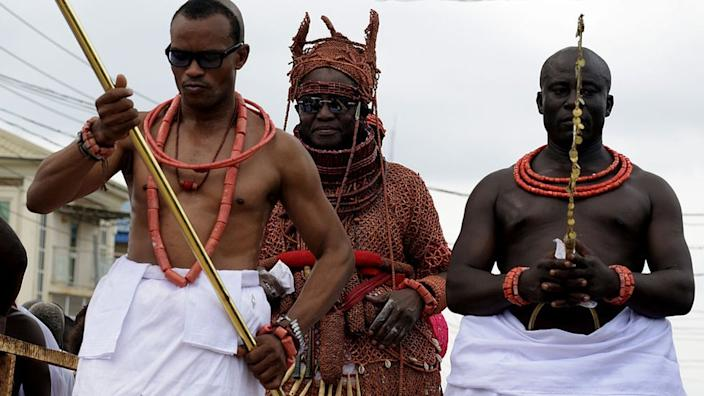 Several myths about the oba of Benin say magic makes him indestructible