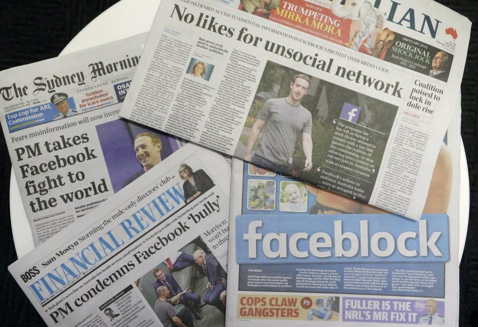 A collection of newspaper front pages about Facebook's Australia showdown.