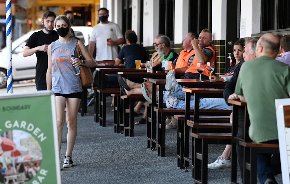 People are seen at West End in Brisbane on April 1. Source: AAP