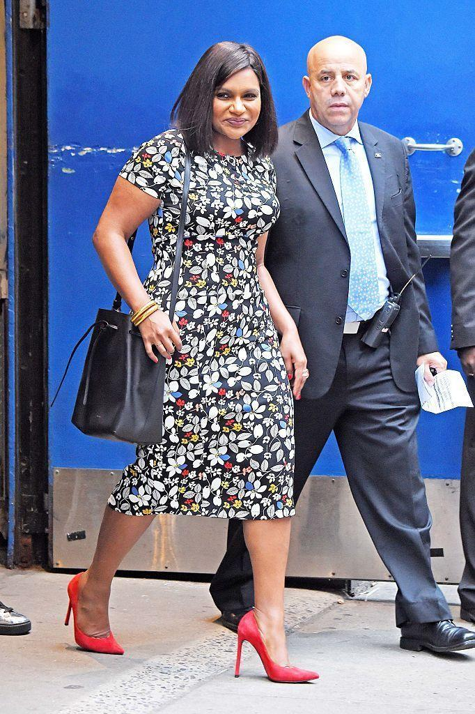 <p>We love how Mindy gave a little extra life to her floral dress with some brightly-coloured pumps. <i>(Photo by Steve Buckley/BuzzFoto via Getty Images)</i><br></p>