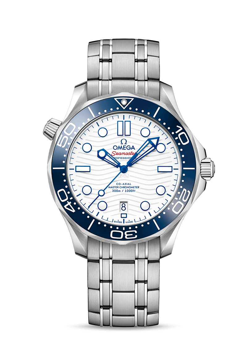 """<p><strong>Omega</strong></p><p>omegawatches.com</p><p><strong>$5600.00</strong></p><p><a href=""""https://www.omegawatches.com/watch-omega-seamaster-diver-300m-co-axial-master-chronometer-42-mm-52230422004001"""" rel=""""nofollow noopener"""" target=""""_blank"""" data-ylk=""""slk:Shop Now"""" class=""""link rapid-noclick-resp"""">Shop Now</a></p><p>Omega has produced this special commemorative timepiece to celebrate its role as the Official Timekeeper of the Olympic Games Tokyo 2020. The white ceramic dial has laser-engraved waves with a blue ceramic bezel ring and Seamaster highlighted in red. </p><p>Case size: 42 mm</p>"""