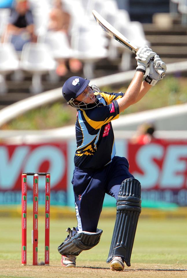 CAPE TOWN, SOUTH AFRCA - OCTOBER 16:  Joe Root of Yorkshire Carnegie in action during the Champions League twenty20 match between Sydney Sixers (Australia) and Yorkshire (England) at Sahara Park Newlands on October 16, 2012 in Cape Town, South Africa. (Photo by Carl Fourie / Gallo Images/Getty Images)