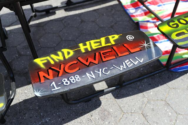 <p>Students from I.S. 117 Joseph H. Wade in the Bronx created this as part of an artwork on the social issue of mental health in Union Square Park, New York City on June 5, 2018. (Photo: Gordon Donovan/Yahoo News) </p>