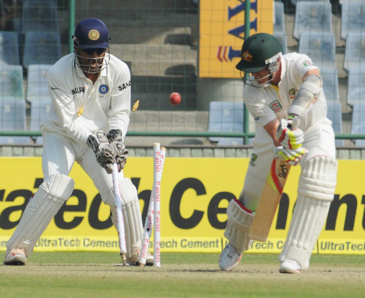 Peter Siddle of Australia is bowled by R Ashwin of India during the 4th test match of the Border-Gavaskar Trophy, at Feroz Shah Kotla Stadium in Delhi on March 23, 2013. P D Photo by P S Kanwar.