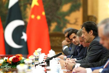 FILE PHOTO: Pakistani Prime Minister Imran Khan attends a meeting with China's Premier Li Keqiang in Beijing