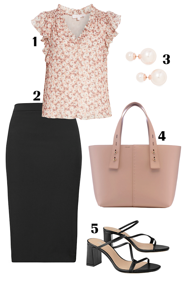 "<p>If you work in a more corporate office, invest in a black pencil skirt. The bottom might be a bit tame, but consider it a blank canvas for a bright floral top or a colorful handbag. You may even get away with wearing a pair of open-toed sandals that are trendier than what the HR handbook states. With the right accessories, you can easily take this bottom from work to happy hour any day of the week.</p><p><strong>Shop the pieces: </strong><strong>1.</strong><strong> </strong><em><a href=""https://shop.nordstrom.com/s/rebecca-taylor-lucia-metallic-stripe-sleeveless-silk-chiffon-top/5311211"" target=""_blank"">Rebecca Taylor chiffon top</a>, </em>$275<em>;</em> <strong>2. </strong><em><a href=""https://bananarepublic.gap.com/browse/product.do?pid=267560012&cid=35288&pcid=5022&grid=pds_7_90_1#pdp-page-content"" target=""_blank"">Banana Republic skirt</a>, </em>$98;<strong> 3.</strong> <em><a href=""https://www.shopbop.com/double-pearl-earrings-shashi/vp/v=1/1567124209.htm?folderID=29948&fm=other-viewall&os=false&colorId=72426"" target=""_blank"">Shashi earrings</a>, </em>$36; <strong>4.</strong> <em><a href=""https://frame-store.com/products/les-second-medium-navy"" target=""_blank"">Frame Les Second bag</a>, </em>$450;<strong> 5.<em> </em></strong><em><a href=""https://www.zara.com/us/en/heeled-mules-with-asymmetrical-straps-p11360001.html?v1=20787548&v2=1281596"" target=""_blank"">Zara heeled mules</a>, </em>$50</p>"