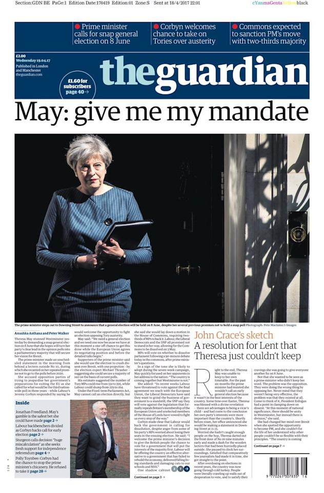 <p>Theresa May again, this time under her demand from a mandate on The Guardian's front page. </p>