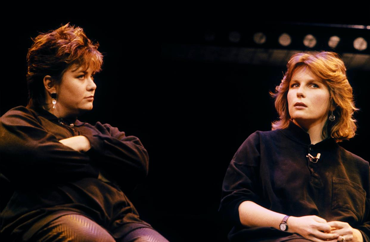 English actors and comedians Dawn French (left) and Jennifer Saunders, as 'French & Saunders' perform their 'Friendly Advice' at Comic Relief Utterly Utterly Live, Shaftesbury Theatre, London, 1986. (Photo by Steve Rapport/Getty Images)