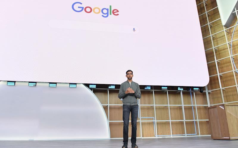 Google chief executive Sundar Pichai at its I/O Conference in Mountain View, California - AFP