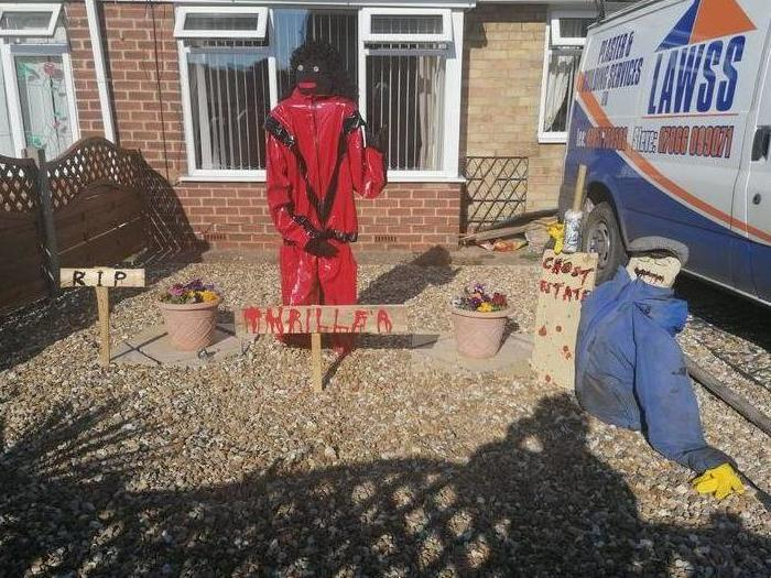 Stephen Sayner says 'the world has gone mad' after neighbours complained about a Michael Jackson scarecrow in his garden: SWNS