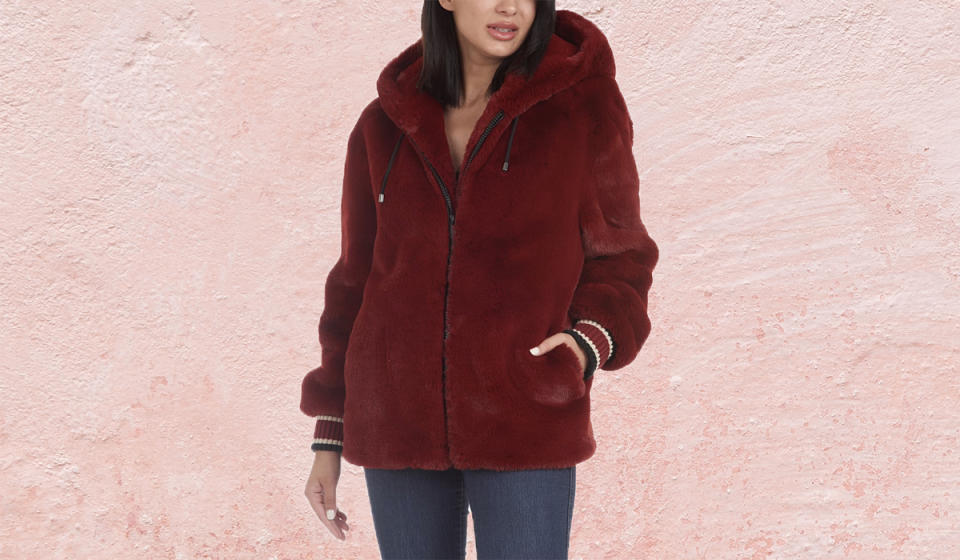 You'll love this luxe hooded coat. (Photo: Nordstrom Rack)