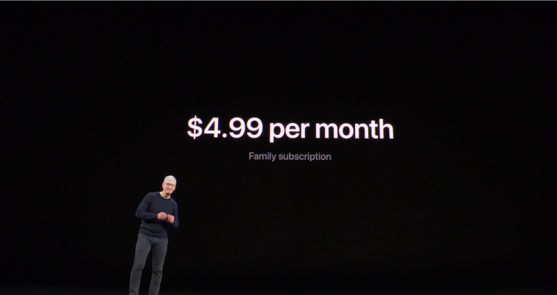 Apple CEO Tim Cook on stage at the Sept. 10 Apple event in Cupertino, Calif., introducing Apple TV+ pricing and launch details.