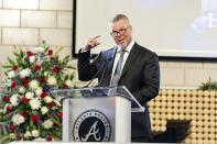 "Chipper Jones, former Atlanta Braves player and Hall of Famer, speaks during ""A Celebration of Henry Louis Aaron,"" a memorial service celebrating the life and enduring legacy of the late Hall of Famer and American icon, on Tuesday, Jan. 26, 2021, at Truist Park in Atlanta. (Kevin D. Liles/Atlanta Braves via AP, Pool)"