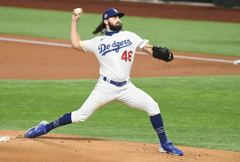 ARLINGTON, TEXAS OCTOBER 27, 2020-dodgerspitcher Tony Gonsolin trows a pitch inthe 1st inning.