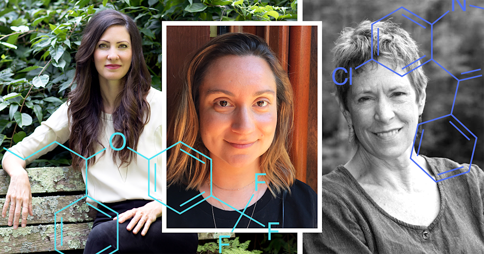 From left: holistic psychiatrist Kelly Brogan, who will not write prescriptions; longtime antidepressant users Sheila Wojciechowski and Chase Twichell, both of whom are weaning themselves off their medications. (Collage by Quinn Lemmers for Yahoo Lifestyle)