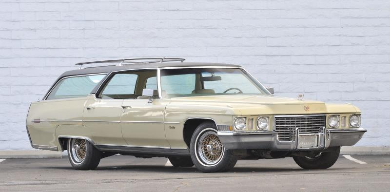 "This photo provided by Courtesy of Mecum Auctions, Elvis Presley's 1972 Cadillac Custom Estate Wagon is shown. Elvis Presley's Cadillac, Steve McQueen's old truck and prescription sunglasses worn by John Lennon are among hundreds of items once owned by celebrities that are scheduled to be auctioned in California next month. The Mecum Auction Company said Wednesday, June 26, 2013, it will be displaying and auctioning about 2,000 pieces of celebrity-related memorabilia in Santa Monica, Calif. on July 26-27. Mecum, which specializes in the sale of collector cars, says one of the auction's highlights will be Elvis' 1972 Cadillac Custom Estate Wagon. ""The King of Rock n' Roll"" owned the car from 1972 until his death in 1977, according to Mecum's Web site. (AP Photo/Courtesy of Mecum Auctions, David Newhardt)"