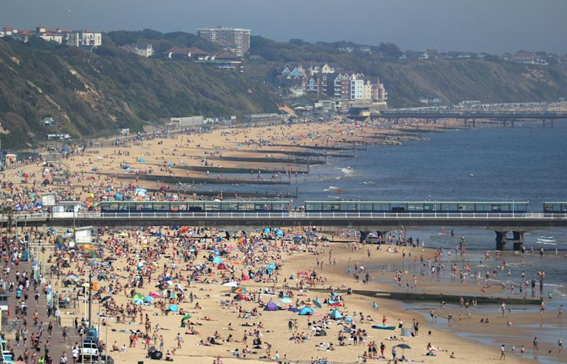 Bournemouth beach was one of many packed beaches in the UK on Wednesday despite current restrictions. Source: PA via AAP