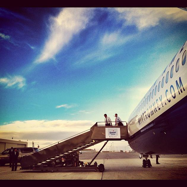 Mitt Romney and Paul Ryan arrive in Denver CO - @hollybdc, via Twitter