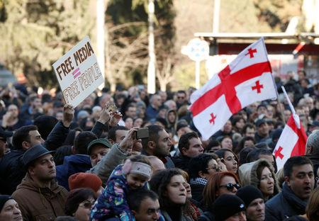People attend rally to support opposition TV channel Rustavi 2 in Tbilisi