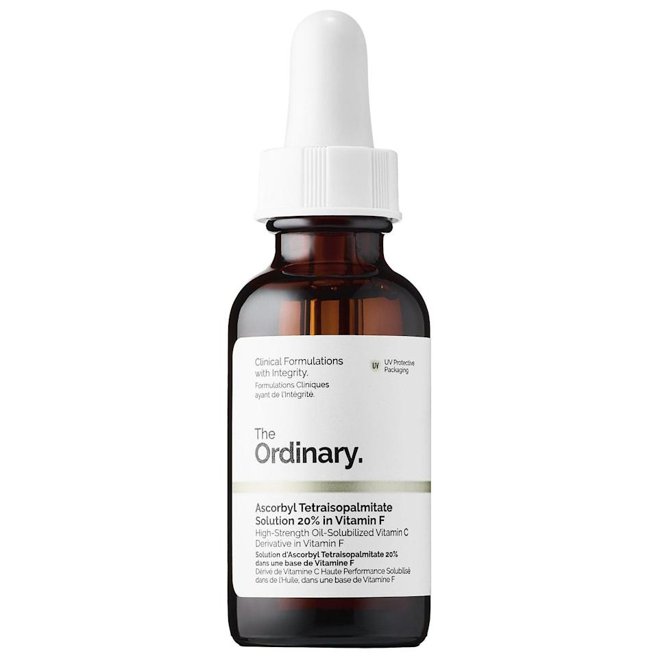 "<h3>Ascorbyl Tetraisopalmitate Solution 20% in Vitamin F<br></h3> <br>Stable vitamin C is notoriously tough to formulate in skin-care products, which is why a vitamin C <em>derivative</em> may give you more bang for your buck. This oil-serum hybrid uses just that to help brighten skin, and it's housed in an amber bottle to help ward of oxidation. But what we love most is that it left our skin with a dewy — not shiny — finish, despite its oil base.<br><br><strong>The Ordinary</strong> Ascorbyl Tetraisopalmitate Solution 20% in Vitamin F, $, available at <a href=""https://go.skimresources.com/?id=30283X879131&url=https%3A%2F%2Fwww.sephora.com%2Fproduct%2Fthe-ordinary-deciem-ascorbyl-tetraisopalmitate-solution-20-in-vitamin-f-P427404%23donotlink"" rel=""nofollow noopener"" target=""_blank"" data-ylk=""slk:Sephora"" class=""link rapid-noclick-resp"">Sephora</a><br>"