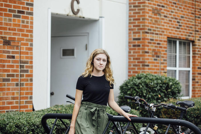 Sarah Ortbal, a sophomore at the University of Alabama in Tuscaloosa, said there was little supervision for quarantined students in her dorm complex. (Wes Frazer/The New York Times)