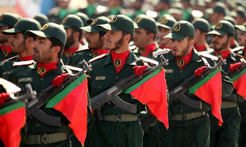 Members of Iran's revolutionary guard on parade in Tehran.