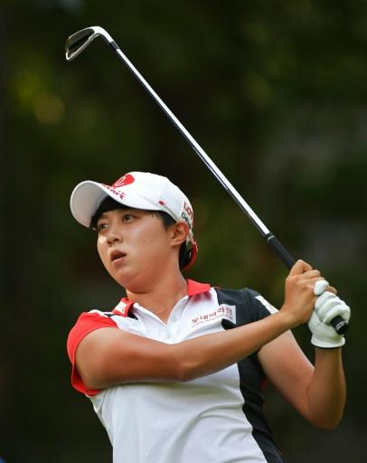 Kim Hyo-joo of South Korea plays her tee shot on the 13th hole during the third round of the US Women's Open at Shoal Creek
