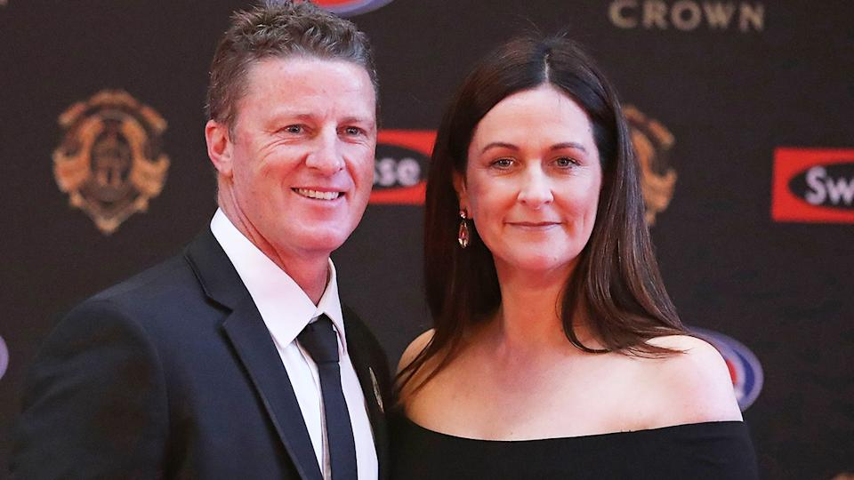 Richmond coach Damien Hardwick (pictured left) arriving with Danielle Hardwick (pictured right) to the 2017 Brownlow Medal in 2017.