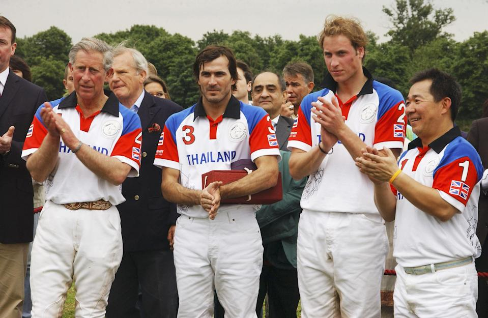 Prince Charles, Argentinian polo player Adolfo Cambiaso, Prince William and Vichai at the Chakravarty Cup Polo match in 2005 (Getty)