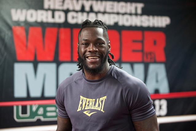 WBC heavyweight champion Deontay Wilder is 38-0 with 37 KOs. (Photo by David A. Smith/Getty Images)