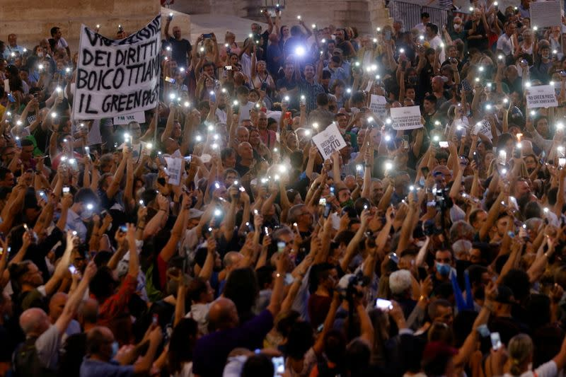 """FILE PHOTO: Protest against government's """"Green Pass"""" plan in Rome"""