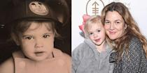 <p>Drew Barrymore was born into a famous family and landed her first acting job at the age of 7 on <em>E.T. the Extra-Terrestrial</em>. Recently the mom of two shared a sweet throwback picture of one of her first head shots (left) and we couldn't help but compare it to her youngest daughter, Frankie, around the same age.</p>