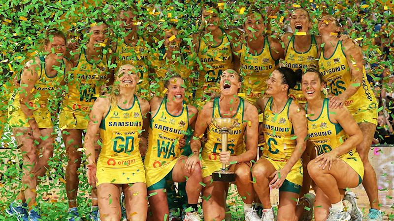 The Australian Diamonds, pictured here celebrating with the Constellation Cup.