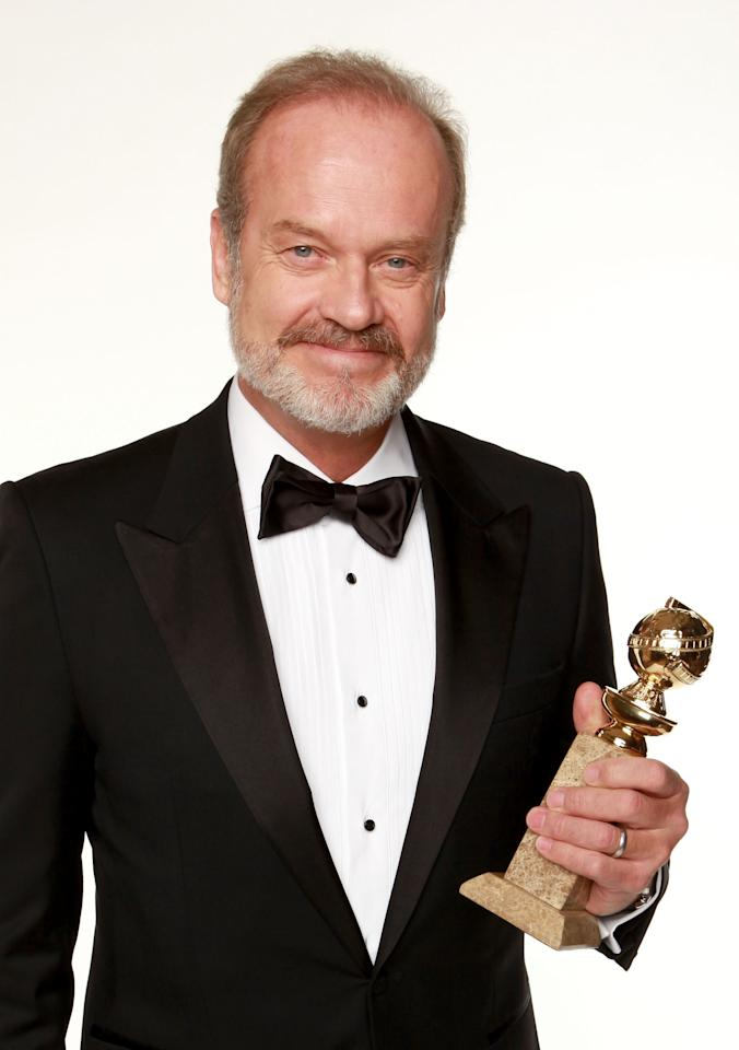 """BEVERLY HILLS, CA - JANUARY 15:  Actor Kelsey Grammer, winner of the Best Performance by an Actor in a Television Series - Drama for """"Boss"""" poses for a portrait backstage at the 69th Annual Golden Globe Awards held at the Beverly Hilton Hotel on January 15, 2012 in Beverly Hills, California.  (Photo by Christopher Polk/Getty Images)"""