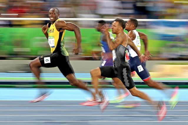 <p>Usain Bolt of Jamaica competes in the Men's 100 meter semifinal on Day 9 of the Rio 2016 Olympic Games at the Olympic Stadium on August 14, 2016 in Rio de Janeiro, Brazil. (Photo by Cameron Spencer/Getty Images) </p>