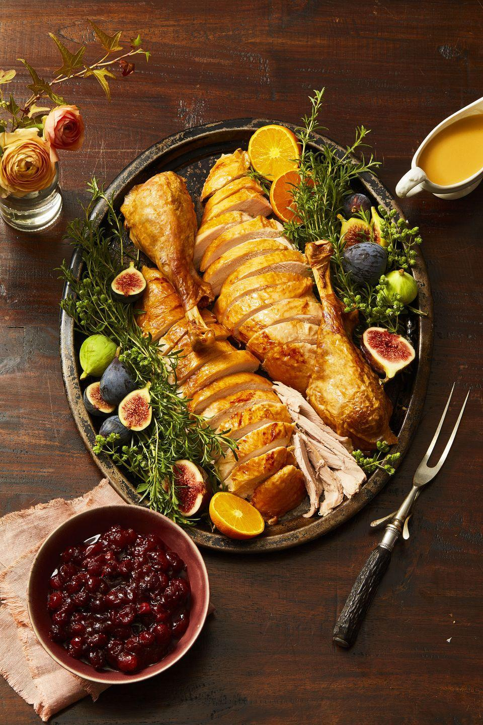 """<p>Our #1 secret to a well-seasoned turkey? The all-important (and oh so easy!) <a href=""""https://www.goodhousekeeping.com/food-recipes/cooking/how-to/a24305/how-to-brine-turkey/"""" rel=""""nofollow noopener"""" target=""""_blank"""" data-ylk=""""slk:dry brine"""" class=""""link rapid-noclick-resp"""">dry brine</a>. The Test Kitchen turns to this method for maximum flavor, juicier meat and the crispiest skin. Here's how it's done: Rub herbs and 2 Tbsp salt all over the turkey, pop it in a plastic bag and refrigerate. You can season your turkey the night before or as far in advance as 2 days.</p>"""