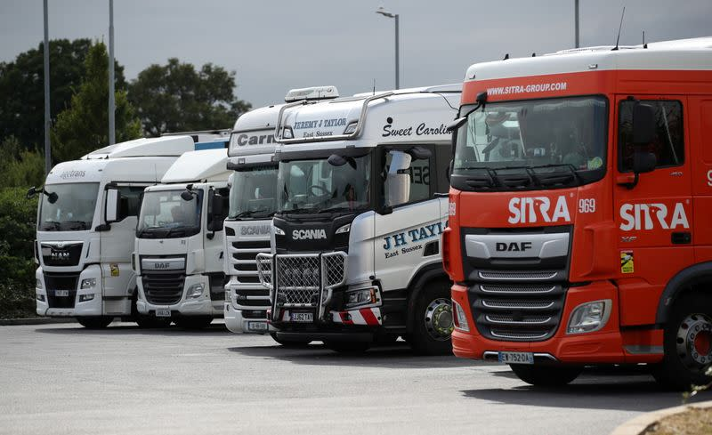 FILE PHOTO: Truck drivers wanted as UK supply chains buckle