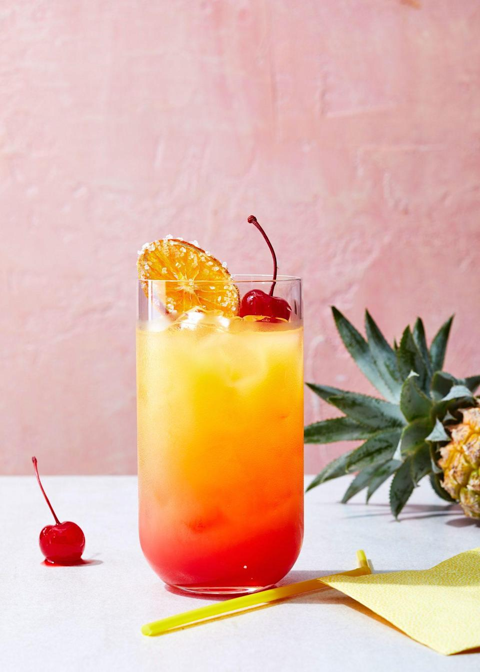 "<p><strong>Recipe: </strong><a href=""https://www.southernliving.com/recipes/southern-sunrise-cocktail"" rel=""nofollow noopener"" target=""_blank"" data-ylk=""slk:Southern Sunrise"" class=""link rapid-noclick-resp""><strong>Southern Sunrise</strong></a></p> <p>It's no secret that this year has inspired more cocktail drinking than most, so we weren't surprised to see that this summery, big-batch drink was popular amongst readers. You need just a few ingredients to make it yourself.</p>"