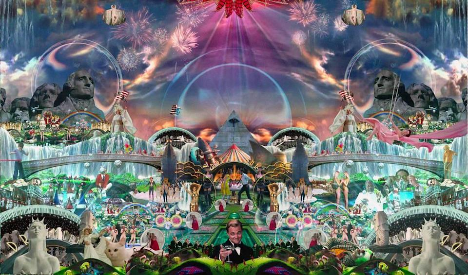 """Detail from Marco Brambilla's """"Heaven's Gate"""" video collage, showing at Perez Art Museum Miami."""