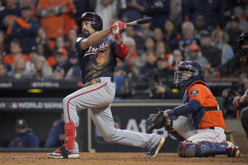 HOUSTON, TEXAS - OCTOBER 30: Washington Nationals third baseman Anthony Rendon (6) hits a home run in the seventh inning during Game 7 of the World Series between the Washington Nationals and the Houston Astros at Minute Maid Park on Wednesday, October 30, 2019. (Photo by John McDonnell/The Washington Post via Getty Images)