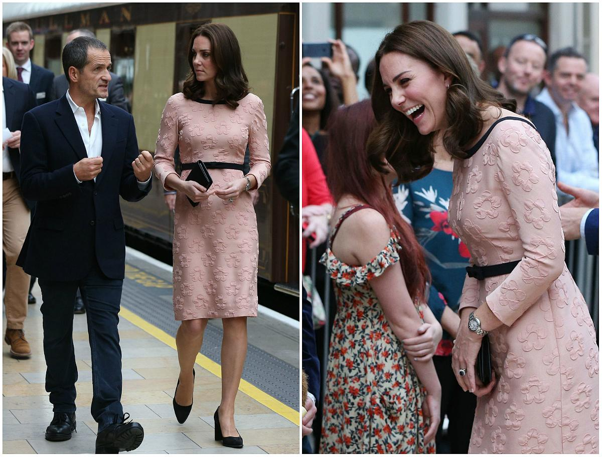 <p><strong>When: October 16, 2017</strong><br />The Duchess, who is expecting her third child, showcased her tiny baby bump at Paddington station on Monday in a fitted floral peach Orla Kiely dress complete with a black belt cinched around her waist. [<em>Photos: PA]</em> </p>